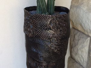 Large Metallic Black Planter