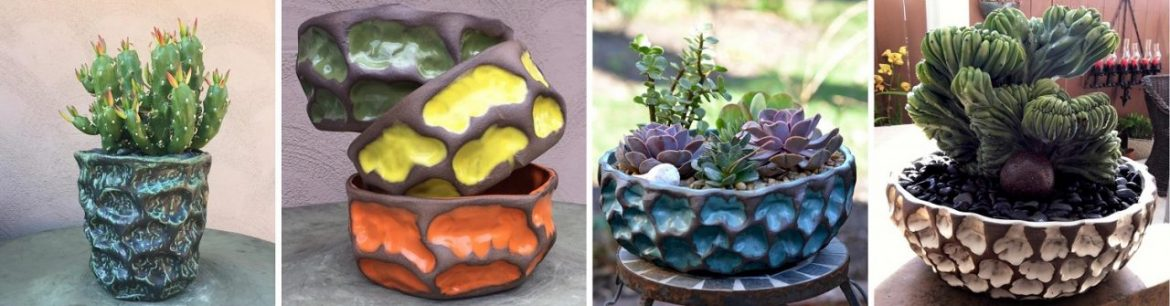 Susan Aach ceramics wave planter collection